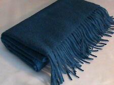 Cashmere wrap shawl pashmina scarf fringe waterweave blue dark peacock Talbots