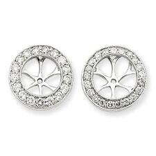14k White Gold Pave White Diamond 1.13ct G Color Halo Earring Jacket For Studs