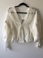FREE PEOPLE WOMEN'S DRIVE YOU MAD V-NECK WOVEN BLOUSE: #OB763756 - MSRP $128