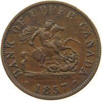 CANADA TOKEN HALFPENNY 1857 UPPER CANADA #s75 705
