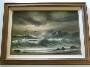 """BOB TAPIA FINEST 36"""" OIL PAINTNG LARGE IMPRESSIONIST NATURE SUNSET  SEA BEACH"""