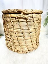 "Vintage Wicker Storage Basket with Lid Large Round Woven Rope Floor Storage 13"""