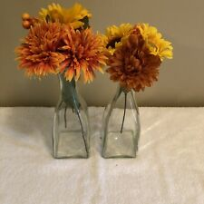 """2 Glass Vases, Bottles W/ Plastic Flowers 11"""" Tall x 3"""" Wide 1 Liter Fall Colors"""