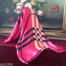 New Women Super Soft Silk Oversized Nava Check Plaid Long Scarf Shawl Wrap PINK