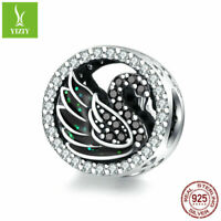Black Swan Soild 925 Sterling Silver Charms Bead For Women Fashion Pendant Gifts