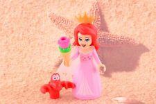 Lego Mini Figure Disney Princess Ariel Pink Dress and Sebastian from Set 41153
