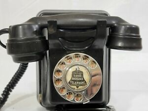 Vintage Siemens Brothers Black Bakelite Rotary Phone Wall Mount Estate Untested