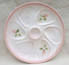 Vintage French Oyster Plate Rose Hand Painted Faience Salins 1950