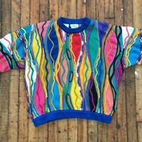 Vintage 90s Coogi Australia Rainbow Biggie Smalls / Notorious BIG Large Sweater