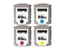 4PK New Hi-Yield BK & Color Ink For HP 88XL OfficeJet Pro L7500 7580 7650 K8600