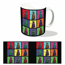 DALEK PSYCHEDELIC SQUARES MUG RETRO POP ART BOXED CERAMIC CUP DOCTOR WHO TARDIS