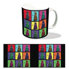 DALEK PSYCHEDELIC SQUARES MUG RETRO POP ART BOXED CERAMIC CUP DOCTOR WHO TARDIS
