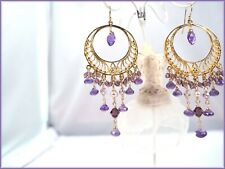 Amethyst 14K Gold Filled Bohemia Filigree Circle Dangle Chandelier Hoop Earrings