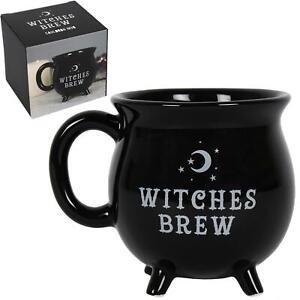 Witches Brew Black Cauldron Mug New Bone China Halloween Gift Boxed