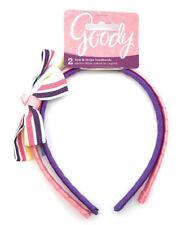Goody Girl's Bow & Stripe Headbands Pink Purple White Satin Stripe Bow, 2 Pack