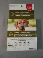 NIB Bayer Quad Chewable Dewormer for Large Size Dogs 45+ pounds 3/2023