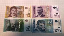 SERBIA 10 , 20 , 50 , 100  DINARA  set 4 pcs  UNC
