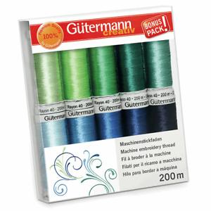 Gutermann Thread Set, Multi-Colour, Rayon 40: 10 x 200m