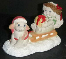 """Dreamsicles Figurine Cherub with gift, pup, sled """"Cheerful Givers� Kristen 1999"""