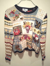 Vintage Thanksgiving Holiday Sweater - Large All Points Fall Pumpkin Flowers !!!