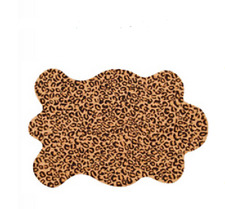 NEW Leopard Print Shaped Rug Hooked 2 x 3