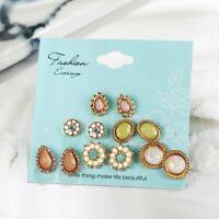6 Pairs/Set Flower Crystal Stud Women Elegant Cubic Water Drop Earrings Jewelry