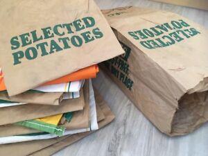 10 EMPTY 3ply USED Paper Potato Veg Potato Sacks Garden Allotment Waste Bag 25kg