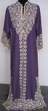 Jordanian Hand Made Purple & Cream Embroidered Full Length Caftan Sz L