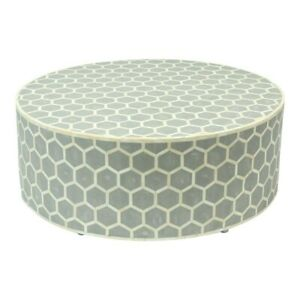 Bone Inlay Round drum Coffee Table Black Honeycomb (MADE TO ORDER)