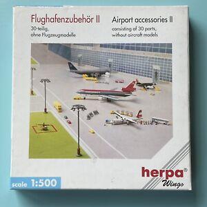 Airport Accessories 30 parts komplett, 1:500 OVP Herpa Flughafenzubehör II