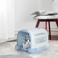 Luckyermore Portable Pet Travel Cage Carrier Plastic Box Travel Kennel Dog Cat