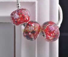 10pcs 20x15mm Lampwork Glass Round Flower Loose Big Hole Murano Charms Beads Red
