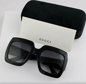 Gucci GG0053S 001 54mm Square Black Women Sunglasses with Light Grey Lens