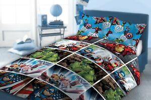 Official Marvel Avengers Double Duvet Cover Bedding Set Quilt Boys Kids Blue