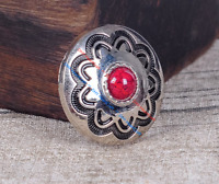 10PC 30MM Red Turquoise Flower Western Leathercraft Silver Purse Metal Concho
