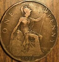 1918 UK GB GREAT BRITAIN ONE PENNY