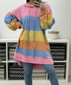 NEW Italian Tye Dye Rainbow HOODIE Drawstring Oversized Puff Sleeve Tunic Top