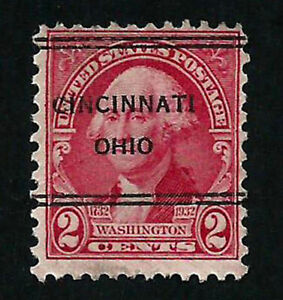 USA, SCOTT # 707, PRECANCEL CINCINNATI OHIO YEAR 1932 GEORGE WASHINGTON, RARE
