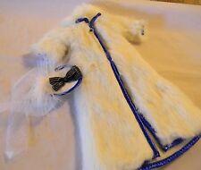 BARBIE DOLL LUCKY IND. WHITE FAUX FUR COAT BLUE TRIM + HAT