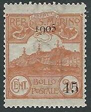 1905 SAN MARINO SOPRASTAMPATO 15 SU 20 CENT MH * - M3-6