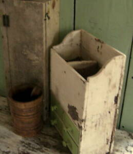 EXCELLENT ANTIQUE PRIMITIVE CUPBOARD,WALL BOX DRAWERS,CUBBIES, OLD PAINT AAFA NR