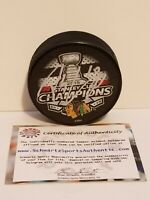 Patrick Sharp Signed 2015 Chicago Blackhawks Stanley Cup Champs Hockey Puck /COA