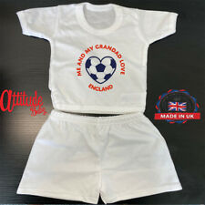 England Plain White Baby Shorts & T Shirt Sets-Printed-Me And My Grandad Love