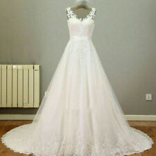 Real Image Lace Wedding Dress Bridal Gown White Ivory Illusion Back custom size