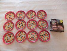 Vintage Set of 12 Made in Brazil Retro Flower Metal Coasters, Kmart 88-05