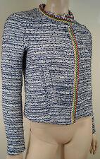 Femme MAJE Laos Bleu & Blanc Tweed Embelli Sans Col Blazer Jacket FR38 M