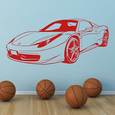 Ferrari Sports Car Wall Sticker Transport Wall Decal Boys Bedroom Home Decor