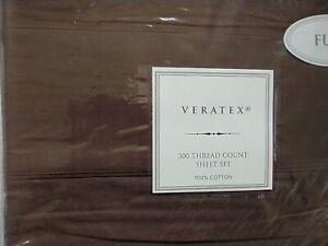 VERATEX~ Full Sheet Set~ 100% Cotton~ 300 TC~ Chocolate Brown~ NIP