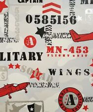 Childrens Kids Boys Aeroplane Military Grey Wallpaper Silver Metallic Black Red