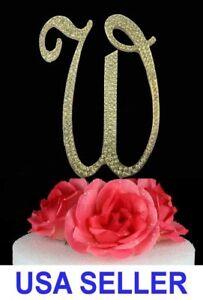 "Large Rhinestone Crystal Monogram ""W"" Wedding Cake Topper 5"" inch High Gold"